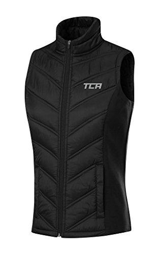 TCA Mujer Chaleco Térmico Ligero para Correr Excel Runner con Bolsillos con Cremallera - Negro XL