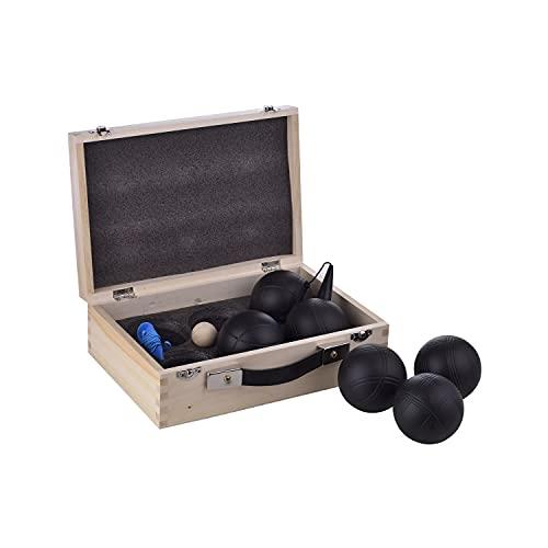 LAGUIOLE Black Edition Jeu de 6 Boules de Pétanque - Cochonnet - Ramasse-Boule Aimanté- Jeu de Jardin- 2 Joueurs - Métal - Noir
