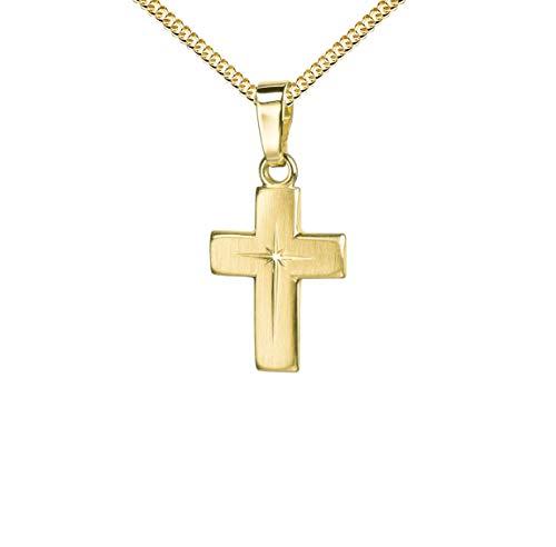 Goldkreuz Kreuz-Anhänger für Damen, Herren und Kinder mattiertes Kreuz mit strahlenförmiger Kreuz-Gravur als Kettenanhänger 585 Gold 14 Karat mit Panzer-Kette vergoldet + Schmuck-Etui