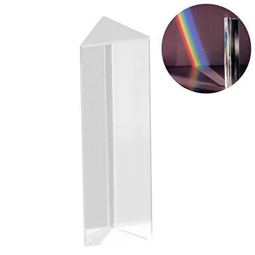 UEETEK Prisma triangular de vidrio óptico de cristal para la enseñanza en el espectro de luz física, 10 * 3 * 3 CM