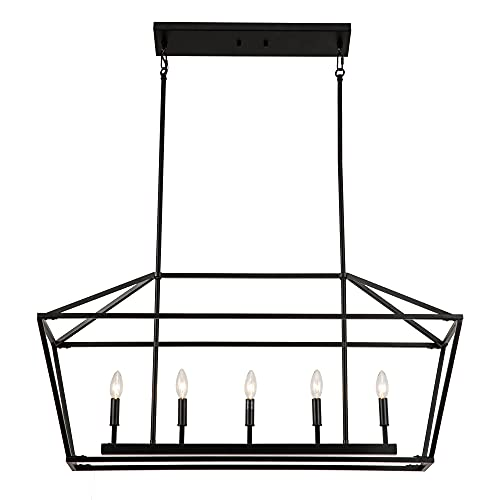 Untrammelife 5-Light Linear Pendant Light Fixture, Kitchen Island Lighting, Openwork Linear Chandelier with Adjustable Height in Coal Black Finish