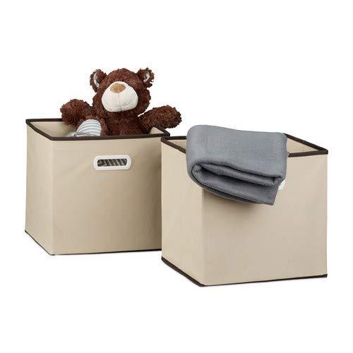 Relaxdays Faltbox 2er Set, quadratisch H x B x T: 30 x 30 x 30 cm, Aufbewahrungsbox, Regalbox, beige