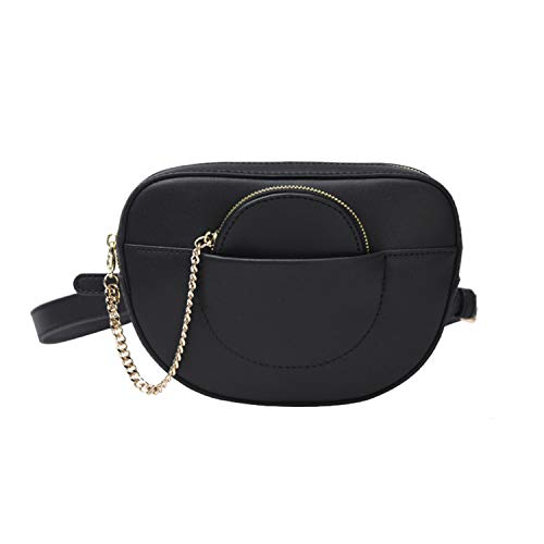 Riñoneras Mujer Moda Bolsa de Cintura Mini Bolso Cuero Riñonera Elegante Bolsa de Cinturón Mujeres Negro