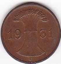 1931-E Germany/Deutsches Reich 1 Reichspfennig Coin