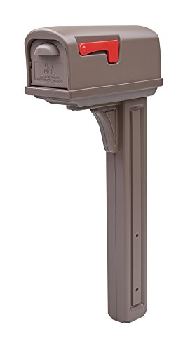 Gibraltar Mailboxes Classic Medium Capacity Double-Walled Plastic Mocha, All-In-One Mailbox & Post Combo Kit, GCL10000M,large