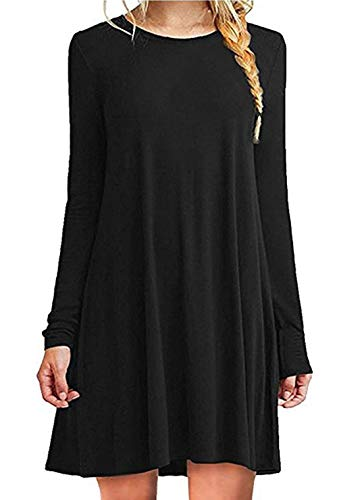 ZIOOER Damen Kleider Casual MiniKleid Langes Shirt Lose Freizeitkleider Tunika Langarm Tshirt Kleid Abendkleid Schwarz M