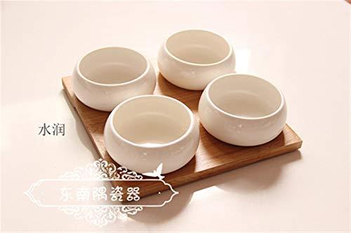 KitchenPRO LQF Pura de cerámica Blanca de Tazones Bandeja de bambú Pequeño Plato Postre Placa con los Cuencos de bambú Pallet for poderlo Horno Utensilios de cocina-10.1 (Color : Rount)