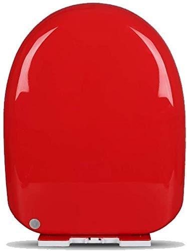 Universal de Asiento de Inodoro O/V/U-Type antibacteriana del Color del Lanzamiento rápido de Cierre Suave WC Tapa (Color : Red, Size : Vshaped)