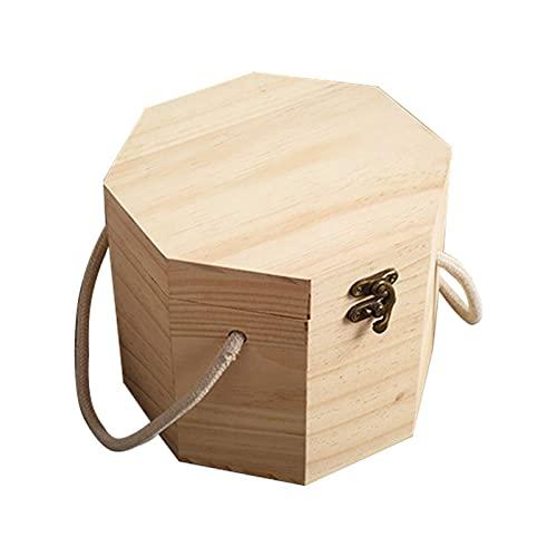 Hermosamente Caja de té Caja de almacenamiento de madera con tapa de madera decorativa Té de madera Cajas de almacenamiento Organizador de almacenamiento Bolsa de té (Color: Beige, Tamaño: 17x17x14.5c