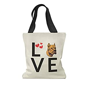 Custom Canvas Tote Shopping Bag Love Hearts Alano Espanol Dog Alano Espanol Reusable Beach for Women 50