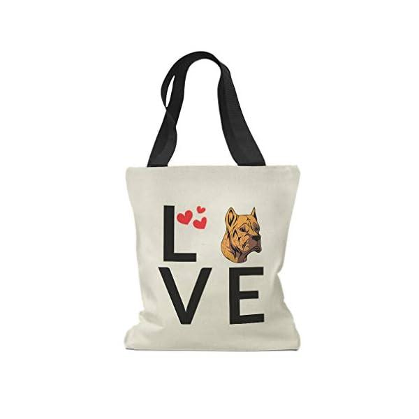 Custom Canvas Tote Shopping Bag Love Hearts Alano Espanol Dog Alano Espanol Reusable Beach for Women 1
