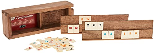 Front Porch Classics Rummikub, Rummy Tile Board Game with Durable Wooden Rack and Case for Travel, 106 Tiles