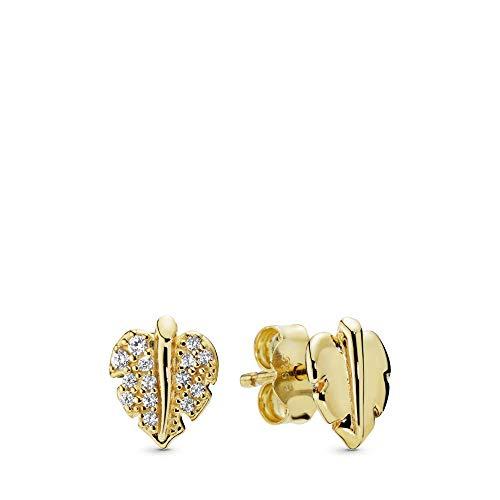 PANDORA Shining & Sparkling Leaf Stud 18k Gold Plated PANDORA Shine Collection Earring - 268334CZ