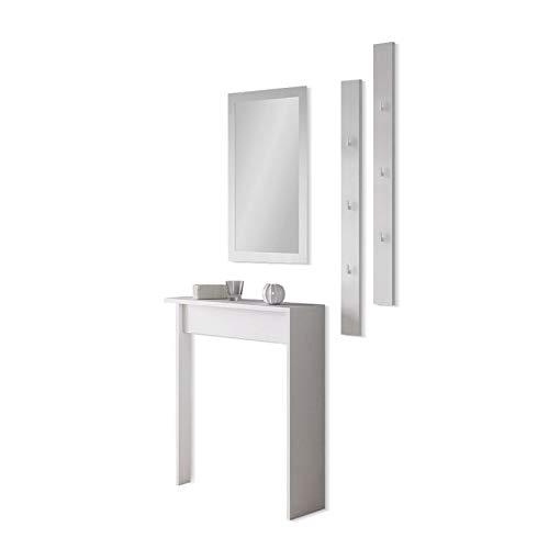 Selsey Clear – Garderobenset 4-teilig Spiegel Konsolentisch Wandpaneel weiß