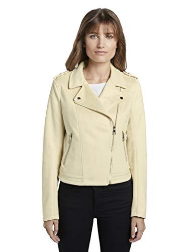 TOM TAILOR Denim Damen Jacken Bikerjacke aus Wildlederimitat Pale Yellow,L,21563,3000