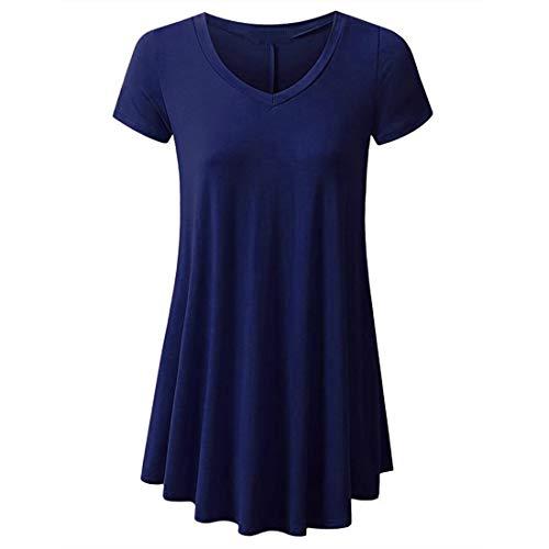 Vestido de Manga Larga con Cuello en V para Mujer Mini Vestidos Sueltos de Gran tamaño de Color sólido Camiseta de Camisa Larga Blusa de Mujer Túnica sólida Tops Corta Mujer Corta Blusa Suelta Tops
