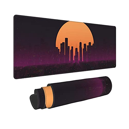 Gaming Mouse Pad, Retrowave City Sunset Larger Extended Gaming Mouse Pad 31.5 X 11.8 Inch Non-Slip Rubber Base Mousepad Desk Keyboard Mouse Mat for Gamer Home Office