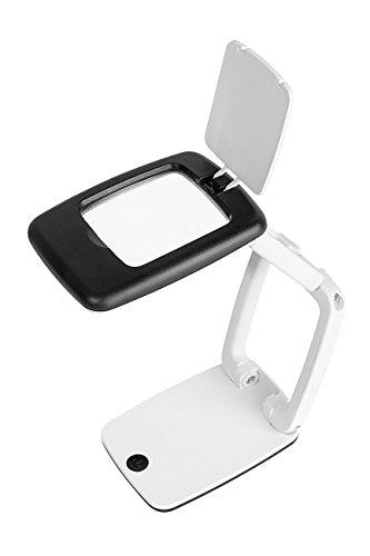 Wedo 27175101 Tischlupe Pocket (mit LED-Licht und 3-facher Vergrößerung, zusammenklappbar aufklappbare Linsenabdeckung) schwarz