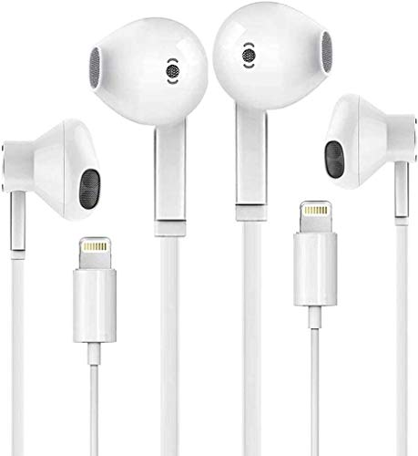 2 Pack-Lightning Headphones Earphones Earbuds Compatible iPhone 12 11 iPhone X XS XR iPhone 8 Plus iPhone 7 Plus[Apple MFi Certified] Built-in Microphone & Volume Control in-Ear Stereo Headset(White)