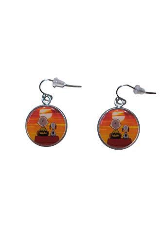 Edelstahl hängende Ohrringe, Durchmesser 20mm, handgemacht, Illustration Charlie Brown