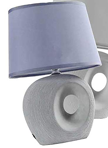 Kasahome Lampada Lumetto da Tavolo Comodino Lampade Lumetti Lume Luce LED Casa in Ceramica Base Pietra Ovale 28 cm (Blu)