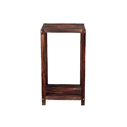 Huocilin Bloemenstandaard in de vorm van een kruk, massief hout, bloemenstandaard, driepoten, plank, woonkamer, meerdere lagen