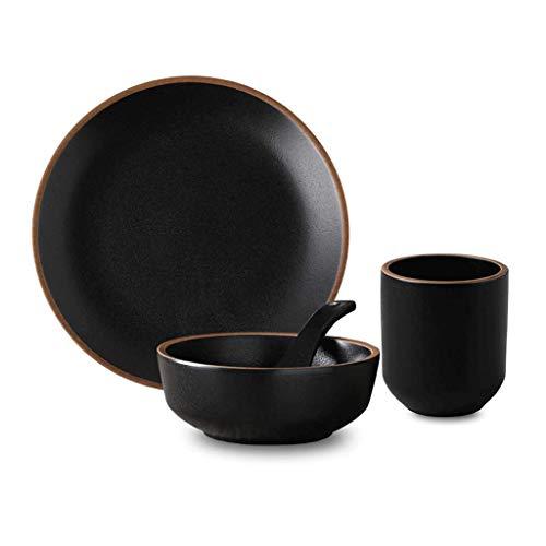 HGXC Bol en céramique, cuillère à Vaisselle Ensemble de comptoir de Restaurant de Quatre pièces | Ensemble pour Une Personne