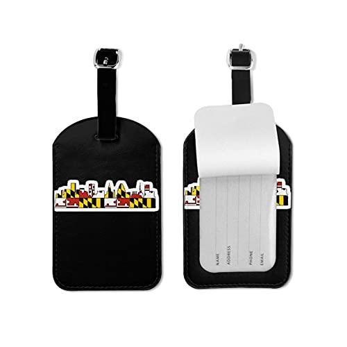 Maryland - Etiquetas de equipaje con bandera del estado de Maryland, etiquetas de equipaje para maleta, etiquetas de viaje de piel sintética de microfibra de 2.7 x 4.3 pulgadas