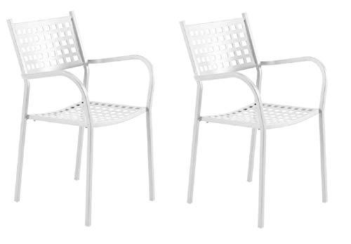 Chaise fauteuil pour usage extérieur modèle ALICE CH1550 Blanc Perle * * * OFFRE pour 2 pièces * * * zingué et vernie à poussières pour résister aux intempéries – produite en Italie de vermobil