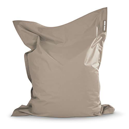 Green Bean © Square XL Riesensitzsack 120x160 cm - 270L - Indoor Outdoor - doppelt vernäht, waschbar, ergonomisch, extrem robust, Abnehmbarer Bezug - Sitzsack TV Sessel Lounge Chair - Dunkelbeige