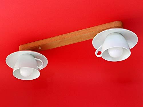 Große Tassenlampe, Deckenlampe aus 2 Jumbo-Tassen, E27, Boho Geschirrlampe, Küchenlampe aus Geschirr, Landhauslampe