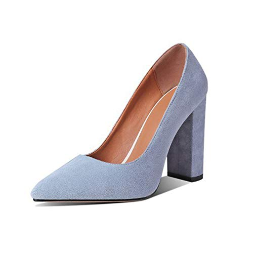 Zapatos Corte Damas, Zapatos Tacón Punta Estrecha Cuero Gamuza, Tacones Gruesos Bloque Tacones Súper Altos Moda Clásica Color Sólido,Azul,36