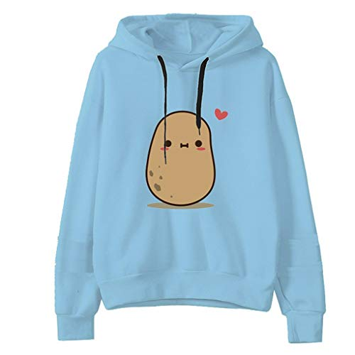 Hoodies for Teen Girls Printed Cute Hooded Sweatshirt Junior Sports Outerwear Long Sleeve Hooded Pullovers Tops, US Stock Blue
