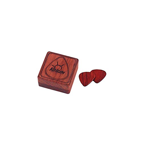 Caja de madera para púas de guitarra Alnicov con 2 púas de madera