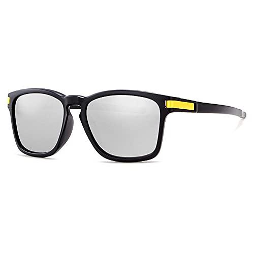 Gafas de sol polarizadas deportivas para hombres y mujeres Protección UV Gafas de Ciclismo Pesca Conducir deportes al aire libre Gafas de sol PC gafas-C2 marco negro película plateada