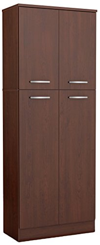 South Shore, Royal Cherry 4-Door Storage Pantry with Adjustable Shelves
