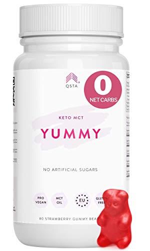 Keto Plus Actives YUMMY (80 GUMMIES) - Gominolas 0 NET CARBS con FIBRA PREBIOTICA + Aceite Coco MCT Oil C8, Dieta Keto, Low-carb, Vegano (Pectina) - Quemagrasas + Energía + Control Ansiedad +MEDICOS