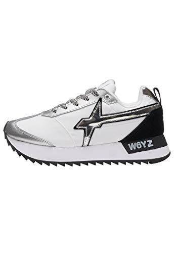 w6yz KIS-W.- Mesita con detalle espejo, color blanco y plateado, Blanco (blanco), 41 EU