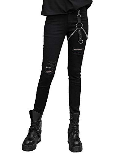 Punk Rave Pantalones negros góticos casuales de calle delgado pantalones vaqueros lápiz pantalones Negro Negro ( XXXL