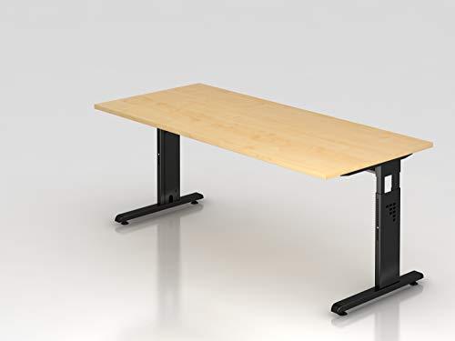 Schreibtisch C-Fuß 180x80cm Ahorn/Schwarz
