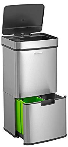 Homra Nexo - Cubo de basura de acero inoxidable con 3 compartimentos - Cubo de basura con sensor - 72 litros (2 x 12 + 1 x 48 L) - Cubo de basura con pedal de acero inoxidable