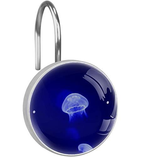 AITAI Ganchos para cortina de ducha, medusas, color azul, a prueba de óxido, 12 unidades