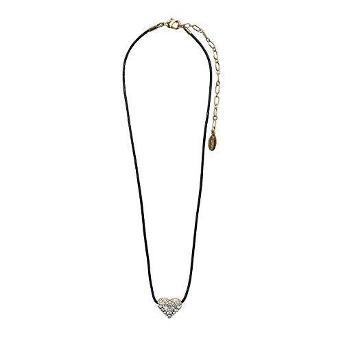 PILGRIM Damen-Halskette CLASSIC Herz vergoldet Swarovski Elements Leder 38 cm 60121-2001