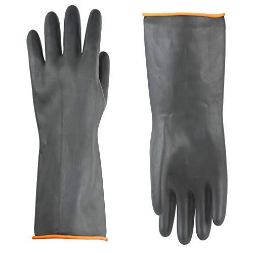 Gummihandschuhe Säurefest Lang-Chemikalien Schutz Handschuhe-Säure-und Alkalibeständigkeit Gummihandschuhe Chemie Handschuhe, Handschuhe Schwarz 1 Paar 35 cm, Nur Eine Größe