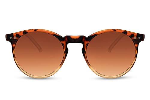 Cheapass Gafas de sol Sunglasses con montura redonda de leopardo brillante a naranja transparente con lentes degradados marrones con protección UV400 Moda vintage para hombre y mujer
