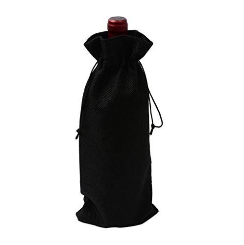 HMILYDYK Bolsas para botellas de vino, bolsas de regalo para bodas, fiestas, bolsas de regalo con cordón para botellas de 750 ml, 10 unidades de color negro