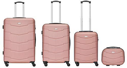 Packenger 4er Koffer-Set Carli- Koffer-Set mit Hartschale: Reisekoffer mit Zahlenschloss und Teleskopgriff (Mauve)