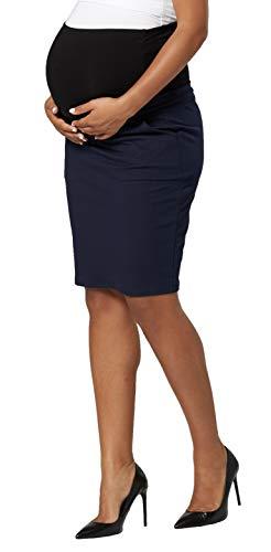 Chelsea Clark Mujer Maternidad Premama Falda de Tubo Midi Banda elástica Embarazo (Azul-Marino, S)
