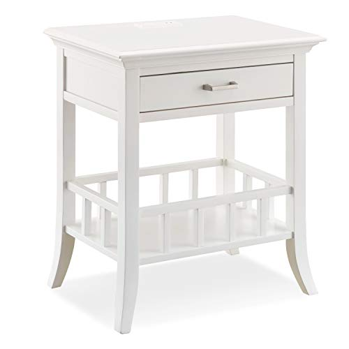 Leick Home Basket Shelf White Night Stand Nightstand