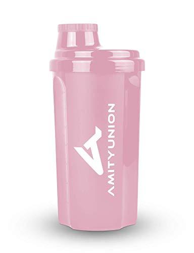"""Coctelera de proteínas 500 ml """"Heaven"""" a prueba de fugas, sin BPA con tamiz y escala para batidos cremosos de suero, vasos de gimnasio para aislados y concentrados deportivos, original en rosa coral"""